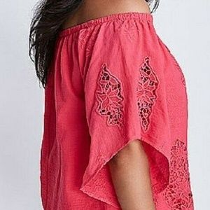 Lane Bryant Pink Crochet Off Shoulder Blouse 14/16